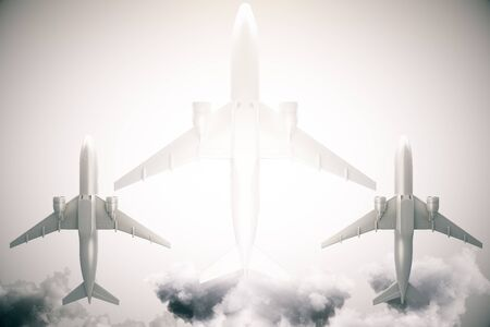 bottom: Bottom view of three airplanes on grey sky background with sunlight. 3D Rendering