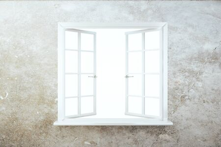 window view: Front view of concrete wall with empty opened white window. 3D Rendering Stock Photo