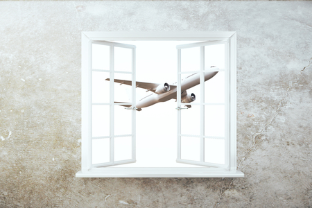 window view: Front view of concrete wall with window and flying by airplane view. 3D Rendering Stock Photo