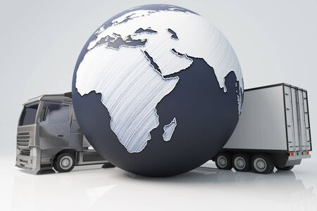 terrestrial: Closeup of truck with trailer and abstract terrestrial globe on light background. International shipping concept. 3D Rendering