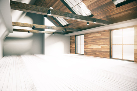 loft interior: Loft interior design with wooden walls, floor and ceiling. Country style. 3D Rendering
