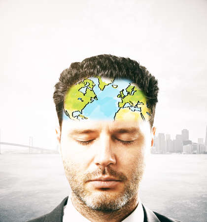 forehead: Portrait of pondering businessman with map on forehead. Abstract city background
