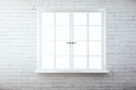 windowsill: Front view of brick wall with empty white window. 3D Rendering Stock Photo