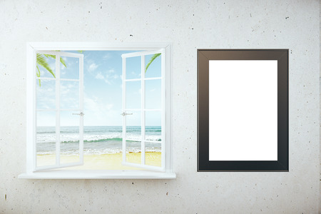 Window With Beach View And Blank Picture Frame On White Brick ...