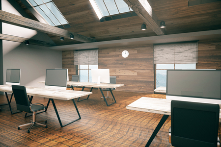 country style: Coworking office room with blank computer display, wooden floor, walls, ceiling and city view. Country style interior. Mock up, 3D Rendering
