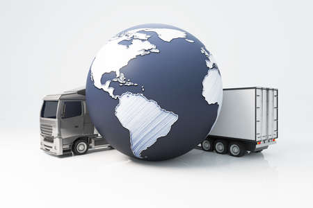 terrestrial: Truck with trailer and abstract terrestrial globe on light background. International shipping concept. 3D Rendering