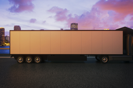 truck trailer: Side view of empty truck trailer on night city background. Mock up, 3D Rendering