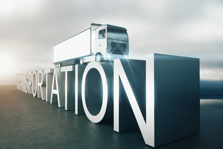 Transportation concept. Side view of abstract voluminous text with truck on top. Dull sky background. 3D Rendering