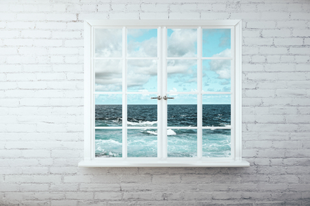 Venster met stormachtige uitzicht op zee op een witte bakstenen muur. 3D Rendering