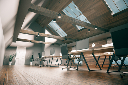 Side view of coworking office design with blank computer monitors, wooden floor, walls, ceiling and city view. Country style interior. Mock up, 3D Rendering Stock Photo