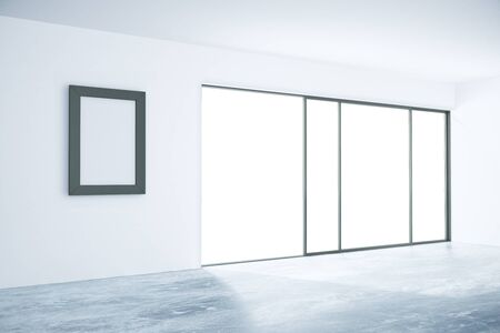 picture window: Concrete interior with blank picture frame and window with no view. Mock up, 3D Rendering Stock Photo
