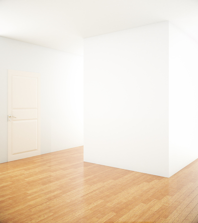 unfurnished: Unfurnished interior with blank white concrete wall, door and wooden floor. Mock up, 3D Rendering