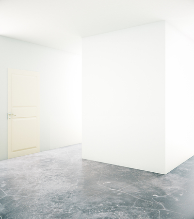unfurnished: Unfurnished interior with blank white wall, door and concrete floor. Mock up, 3D Rendering