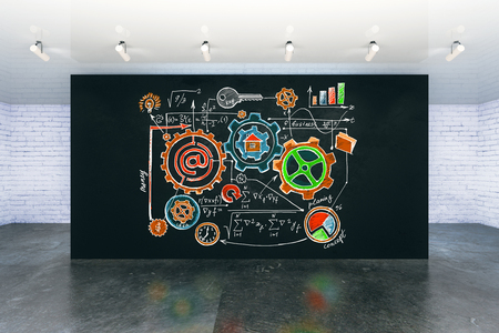 idea sketch: Interior with colorful business sketch on black wall. Success concept. 3D Rendering