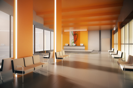 Orange office waiting area with multiple seats and reception desk. 3D Rendering Banco de Imagens