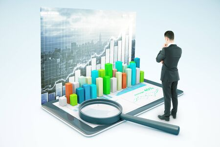 voluminous: Thinking businessman looking at tablet with voluminous business chart and magnifying glass. City background. Market analysis concept. 3D Rendering