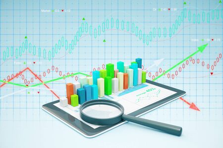 voluminous: Tablet with voluminous business chart and magnifying glass. Market analysis concept. 3D Rendering