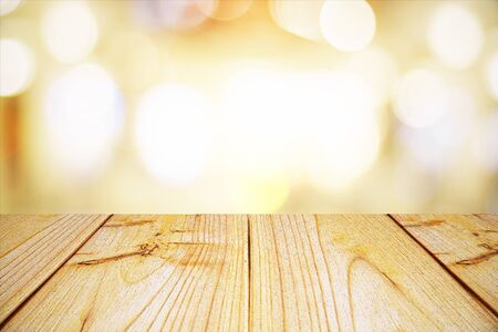 Empty light wooden surface on light bokeh background. Mock up, 3D Rendering