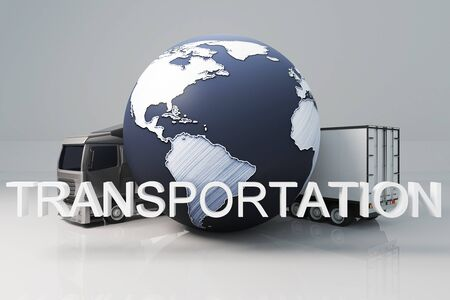 terrestrial: Truck with trailer and abstract terrestrial globe on light background. Transportation concept. 3D Rendering