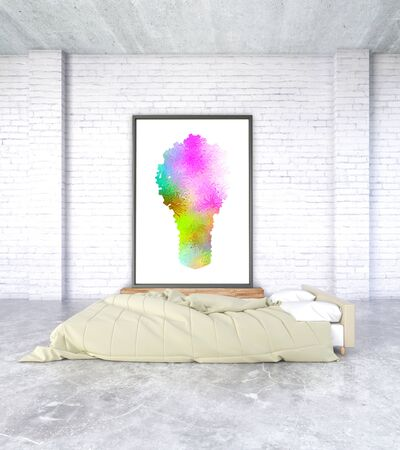 bedroom wall: Minimalistic bedroom interior with concrete floor and abstract lightbulb image on brick wall. 3D Rendering