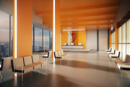 Side view of orange office waiting area with multiple seats, reception desk and New York city view. 3D Rendering Фото со стока