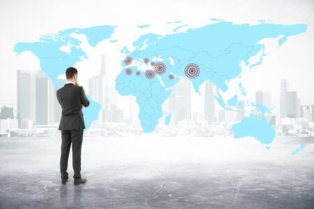 geo: Thoughtful businessman looking at map with targets on abstract city background. Geo targeting concept. 3D Rendering