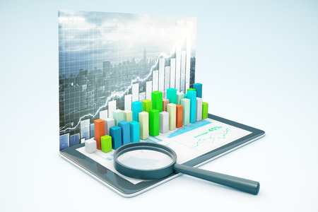 voluminous: Tablet with voluminous business chart bars and magnifying glass. City background. Market analysis concept. 3D Rendering Stock Photo