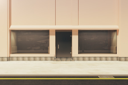 storefront: Front view of empty storefront in daylight. Mock up, 3D Rendering Stock Photo