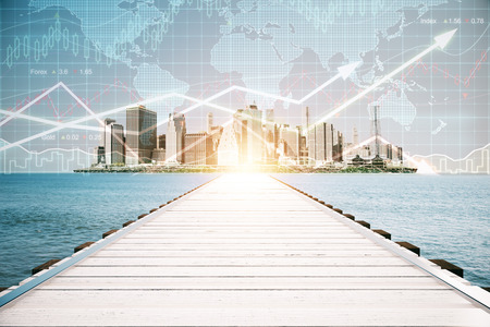 flèche double: Wooden pier on city background with forex chart and sunlight. Financial growth concept