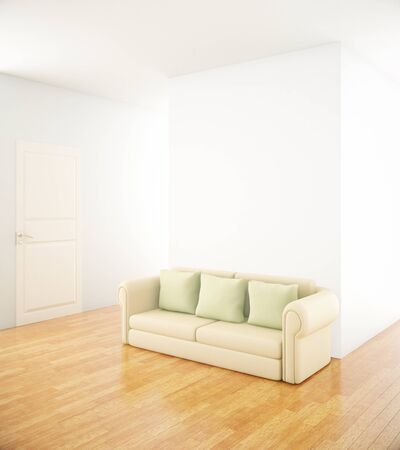 empty office: Interior with blank concrete wall and couch on wooden floor. Mock up, 3D Rendering Stock Photo
