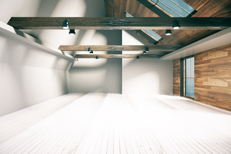 loft interior: Half wooden and half concrete loft interior with city view. 3D Rendering Stock Photo