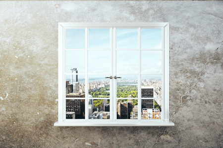 window view: Window with city view on concrete wall. 3D Rendering Stock Photo