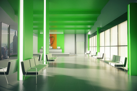 Side view of green office lobby with multiple seats, reception desk and New York city view. 3D Rendering