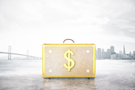 lucky bag: Golden suitcase with dollar sign on abstract city background. Financial growth concept. 3D Rendering