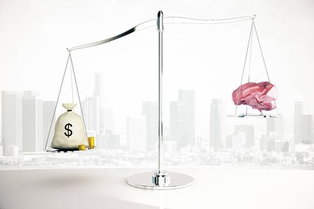 outweighing: Cash sack on silver scales outweighing abstract polygonal brain on city background. 3D Rendering Stock Photo