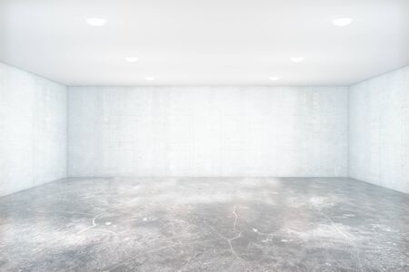 unfurnished: Empty unfurnished light concrete interior with blank walls. Mock up, 3D Rendering Stock Photo