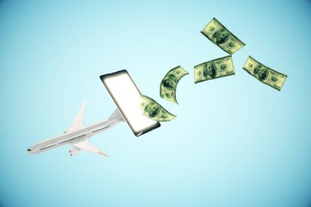 plane tickets: Abstract airplane and dollar bills flying out of cellphone screen on blue background.3D Rendering. Online payment for plane tickets concept