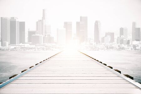 pier: Wooden sea pier on sky clear sky and city background with sunlight. Mock up, 3D Rendering