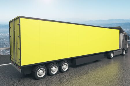 cargo transport: Closeup and side view of empty yellow truck trailer on landscape background. Mock up, 3D Rendering