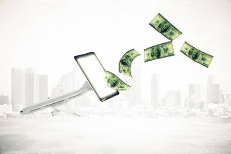 plane tickets: Abstract airplane and dollar bills flying out of mobile phone screen on city background.3D Rendering. Online payment for plane tickets concept Stock Photo