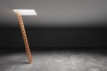 basement: Wooden ladder in dark grey basement leading out to light. Freedom concept. 3D Rendering Stock Photo