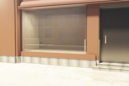 storefront: Side view of empty clean storefront in daylight. Mock up, 3D Rendering