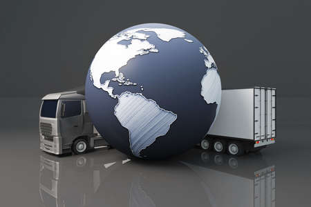 terrestrial: Truck with trailer and abstract terrestrial globe on dark background. Global shipping concept. 3D Rendering