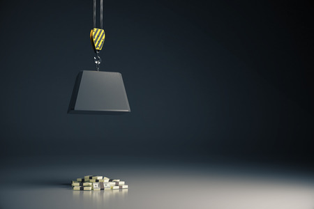 heavy risk: Risk concept with heavy block on hook above cash pile on grey background. 3D Rendering