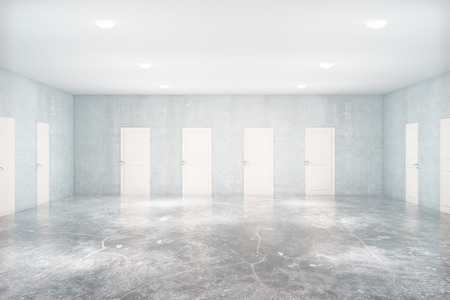 many doors: Light concrete room with many white doors. Choice concept. 3D Rendering