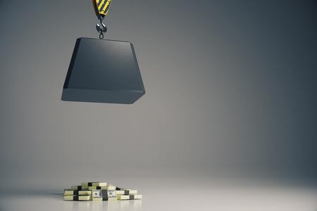 heavy risk: Heavy block on hook above cash pile on light grey background. Risk concept. 3D Rendering