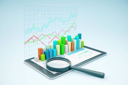 voluminous: Tablet with voluminous business chart bars and magnifying glass. Graph background. Market analysis concept. 3D Rendering