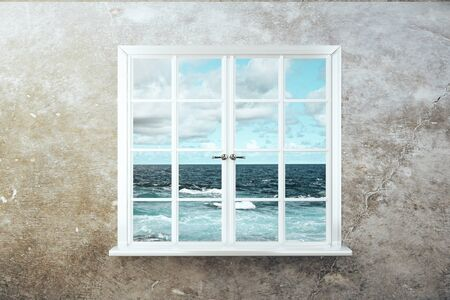 window view: Window with stormy sea view on concrete wall. 3D Rendering Stock Photo