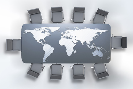 conference table: Top view of conference table with map on white background. 3D Rendering. International business concept