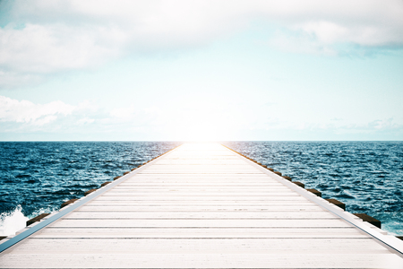 Wooden sea pier on sky clear sky background with sunlight. Mock up, 3D Rendering